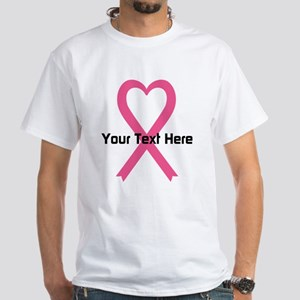 Personalized Pink Ribbon Heart White T-Shirt