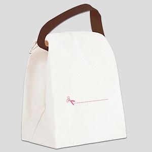 Scissor Cutting Line Canvas Lunch Bag