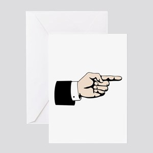 Poointing Male Hand Greeting Cards