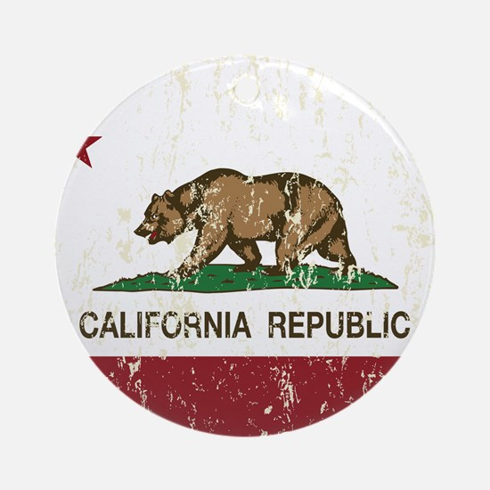 California Republic Distressed Flag Ornament (Roun