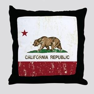 California Republic Distressed Flag Throw Pillow