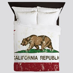 California Republic Distressed Flag Queen Duvet