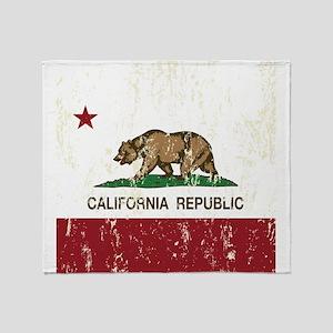 California Republic Distressed Flag Throw Blanket