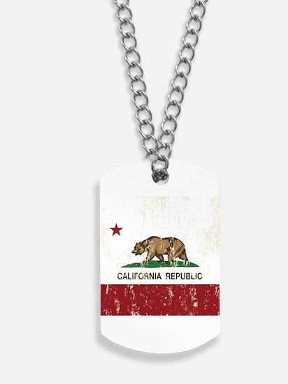 California Republic Distressed Flag Dog Tags