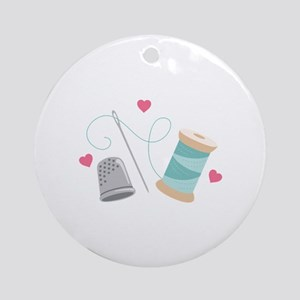 Heart Sewing supplies Ornament (Round)
