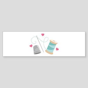 Heart Sewing supplies Bumper Sticker