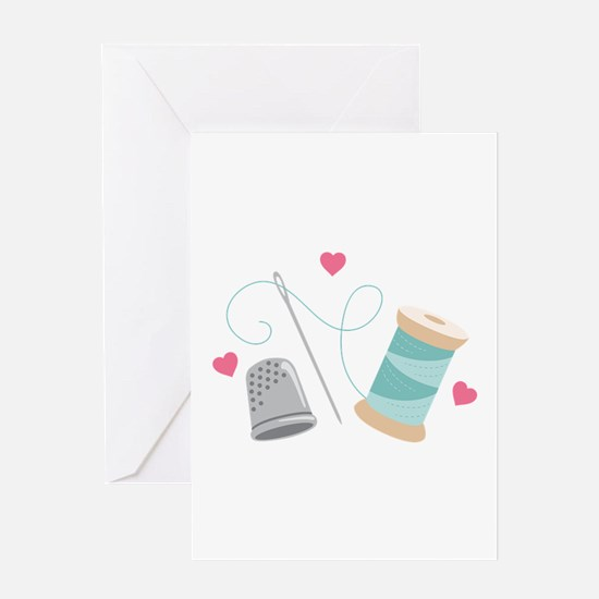 Heart Sewing supplies Greeting Cards