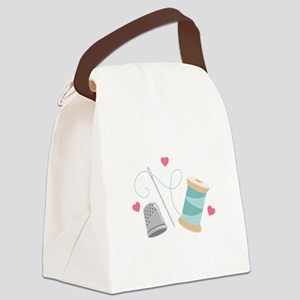 Heart Sewing supplies Canvas Lunch Bag