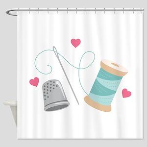 Heart Sewing supplies Shower Curtain