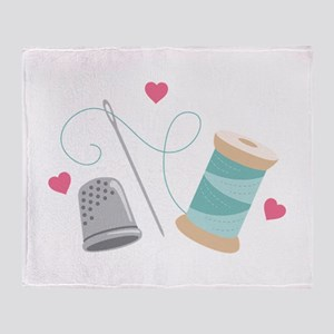 Heart Sewing supplies Throw Blanket