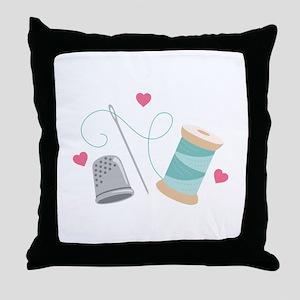 Heart Sewing supplies Throw Pillow