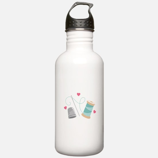 Heart Sewing supplies Water Bottle