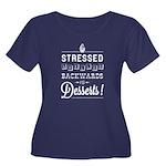 Stressed Women'S Plus Size Scoop Neck Dark T-Shirt