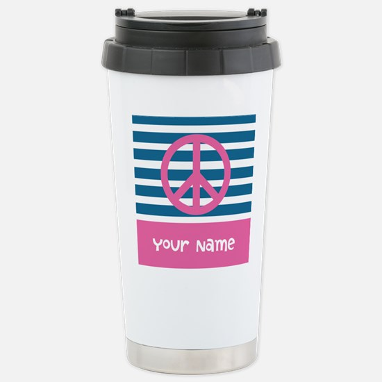 Peace Pink and Blue Str Stainless Steel Travel Mug