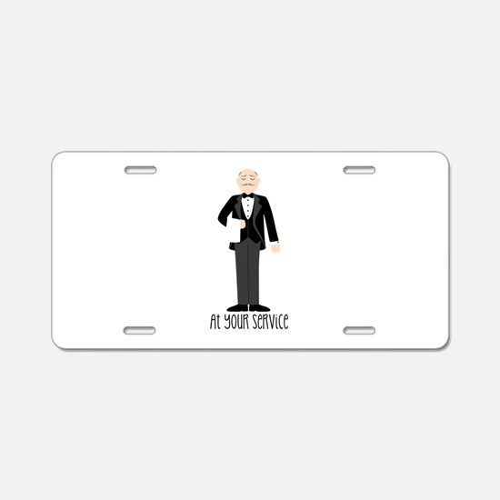 At Your Service Aluminum License Plate