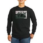 Palm Tree Window Long Sleeve Dark T-Shirt