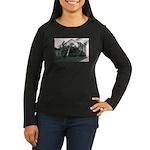 Palm Tree Window Women's Long Sleeve Dark T-Shirt
