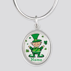 Personalized Wee Leprechaun Silver Oval Necklace
