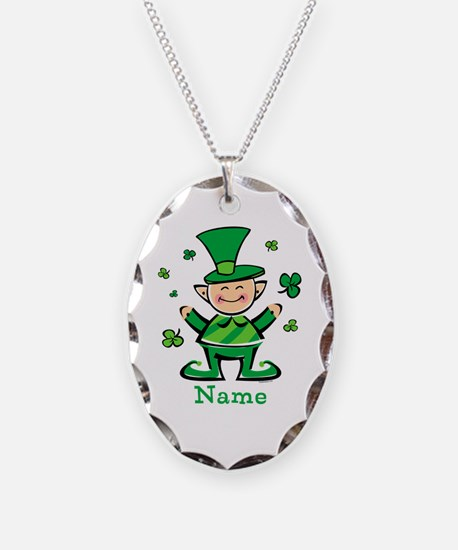 Personalized Wee Leprechaun Necklace Oval Charm