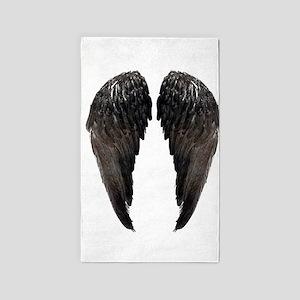 Black Angel wings 3 3'x5' Area Rug