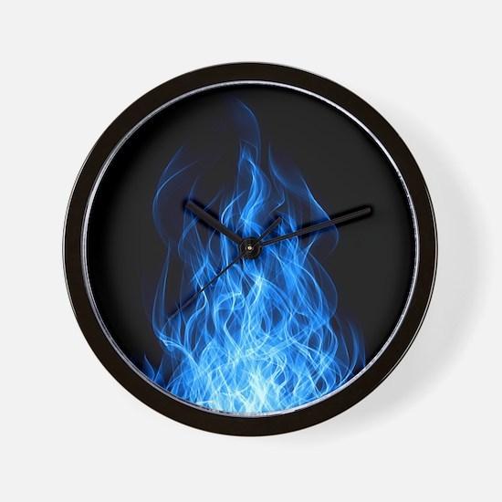 Blue Flames Wall Clock