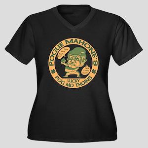 Pogue's Luck Women's Plus Size V-Neck Dark T-Shirt