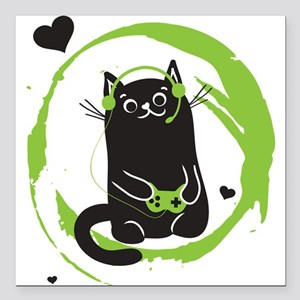 "Gamer Cat Square Car Magnet 3"" x 3"""