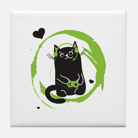 Gamer Cat Tile Coaster