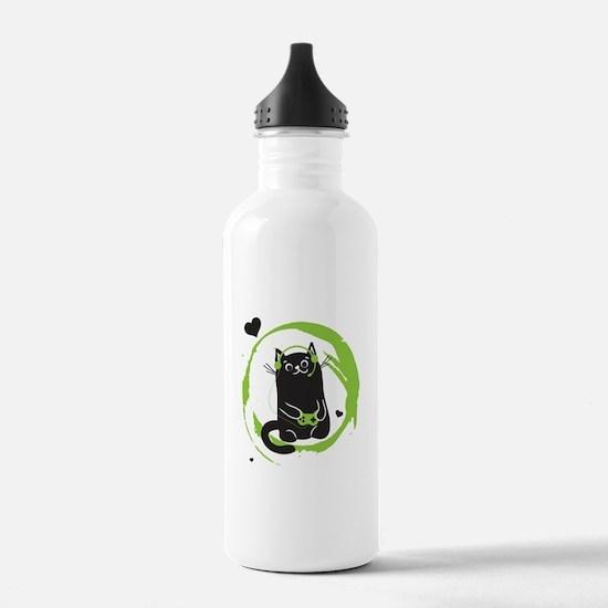 Gamer Cat Water Bottle