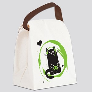Gamer Cat Canvas Lunch Bag