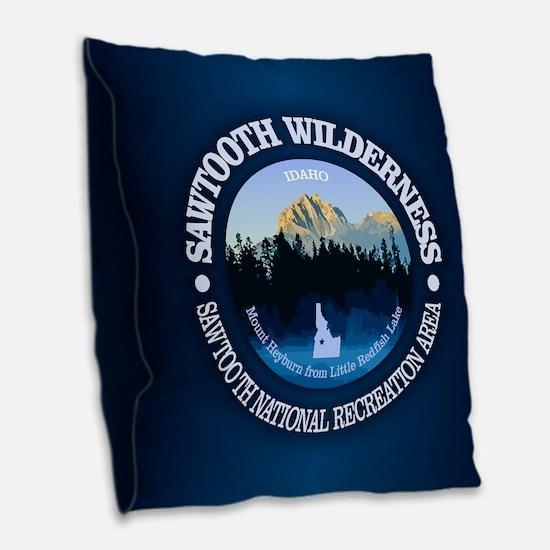Sawtooth Wilderness Burlap Throw Pillow