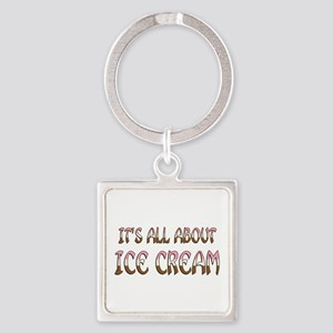 All About Ice Cream Square Keychain