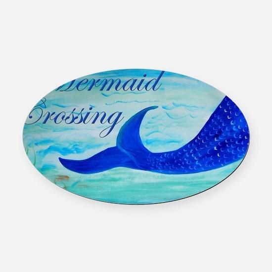 Mermaid Crossing Oval Car Magnet