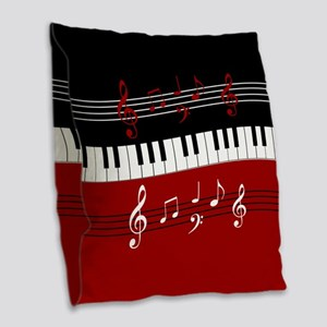 Stylish Piano keys and musical notes Burlap Throw