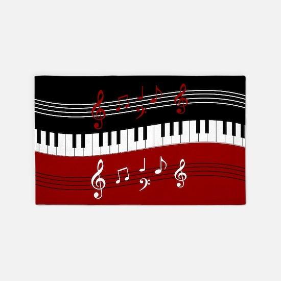 Stylish Piano Keyusical Notes 3 X5 Area Ru
