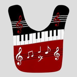 Stylish Piano keys and musical notes Bib