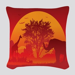 African Savanna Woven Throw Pillow