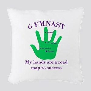 Gymnast Road Map Woven Throw Pillow