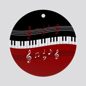 Stylish Piano keys and musical notes Ornament (Rou