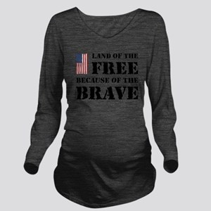 Land of the Free Long Sleeve Maternity T-Shirt