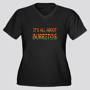All About Bu Women's Plus Size V-Neck Dark T-Shirt