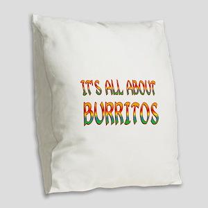 All About Burritos Burlap Throw Pillow