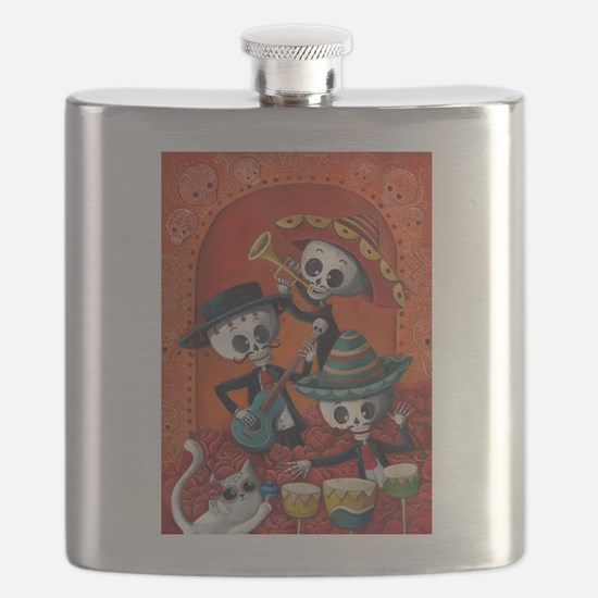 Mexican skeleton musicians Flask