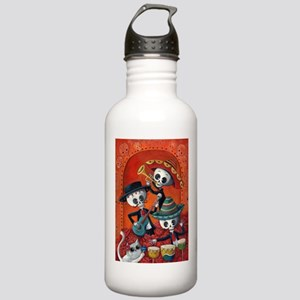 Mexican skeleton musicians Water Bottle