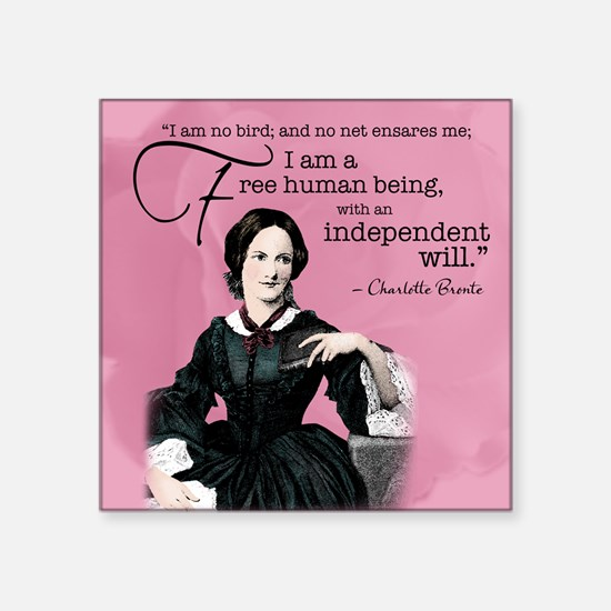 "Charlotte Bronte Square Sticker 3"" X 3"""