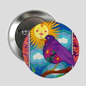 """Purple Flower Bird 2.25"""" Button"""