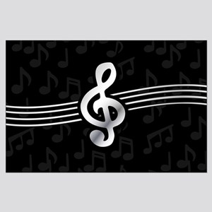 Stylish clef on musical note background Posters
