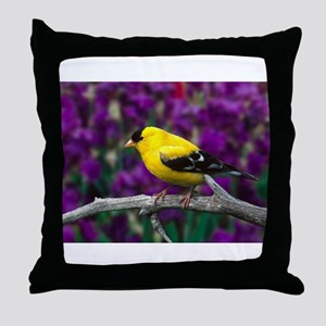 American Goldfinch Bird Black and Yellow Throw Pil