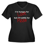 Hungry For L Women's Plus Size V-Neck Dark T-Shirt