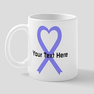 Personalized Periwinkle Ribbon Heart Mug